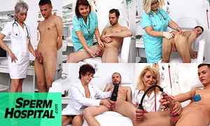 Sperm Hospital - dirty milf doctors jerking off young male patients who want to donate their sticky sperm