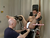 Gagged and bound with legs akimbo, enema, balls pegged, bastinado, fucked hard, arsehole covered in cum.